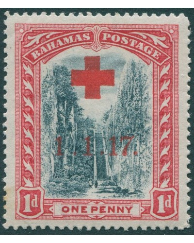 Bahamas 1917 SG90 1d black and red ovpt 1.1.17. and Red Cross small tone spot on back MNH