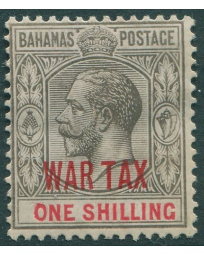 Bahamas 1918 SG99 1/- black and red KGV ovpt WAR TAX MH