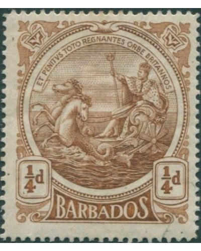 Barbados 1916 SG181 ¼d brown Colony Seal MLH