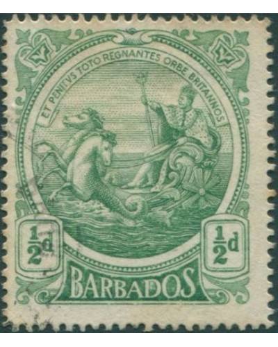 Barbados 1916 SG182 ½d green Colony Seal FU