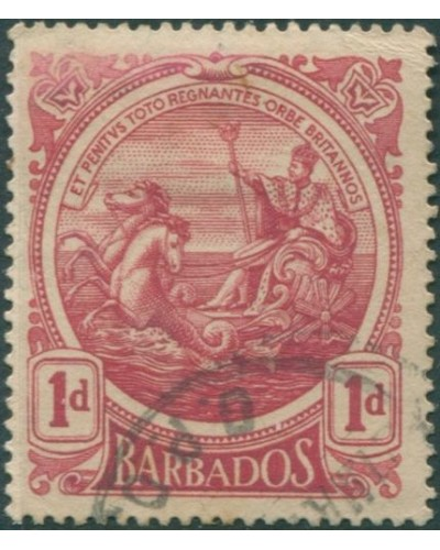 Barbados 1916 SG183a 1d red Colony Seal FU
