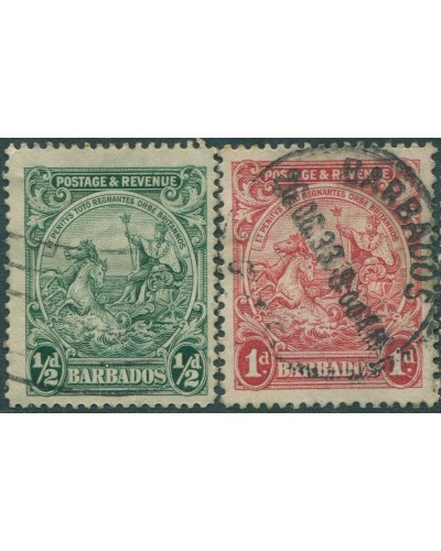 Barbados 1929 SG229-230 Seal of Colony POSTAGE & REVENUE FU