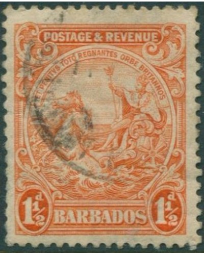 Barbados 1925 SG231da 1½d orange Colony Seal FU
