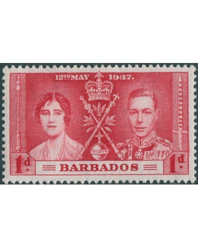 Barbados 1937 SG245 1d red Coronation MH