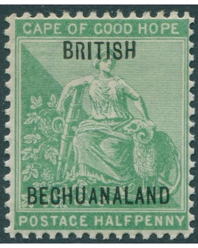 Bechuanaland 1897 SG57 ½d yellow-green Hope with Ram black ovpt lines 13.5mm apart MNH