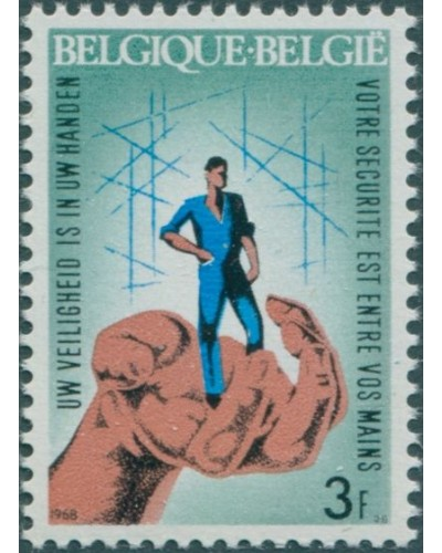 Belgium 1968 SG2046 3f Worker in Protective Hand MNH