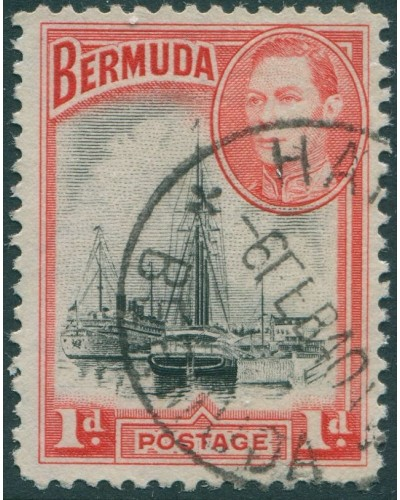 Bermuda 1938 SG110 1d black and red KGVI Ships on Hamilton Harbour FU