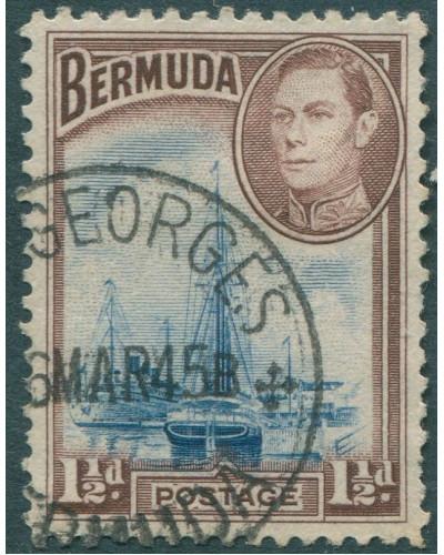 Bermuda 1938 SG111b 1½d blue and brown KGVI Ships on Hamilton Harbour FU