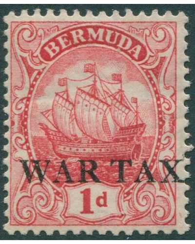 Bermuda 1918 SG56 1d red Colony Badge WAR TAX ovpt MLH