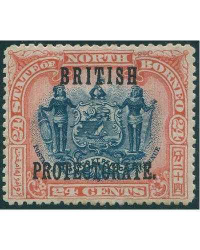Malaysia North Borneo 1901 SG138 24c blue and red Arms BRITISH PROTECTORATE ovpt MLH