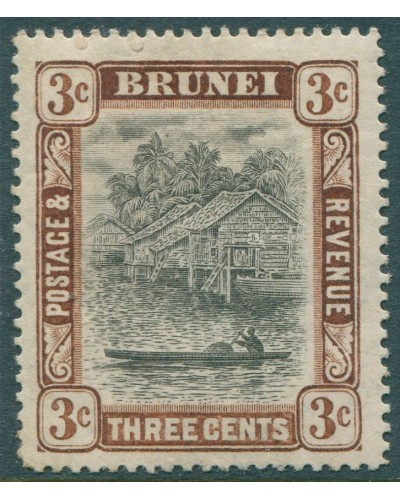 Brunei 1907 SG25 3c black and brown River View MH