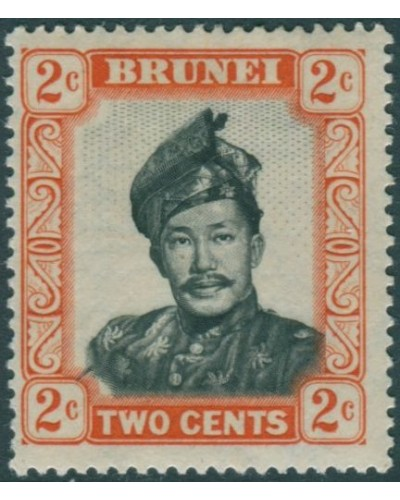 Brunei 1952 SG101 2c black and orange Sultan MLH