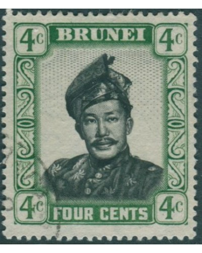 Brunei 1952 SG103 4c black and green Sultan FU