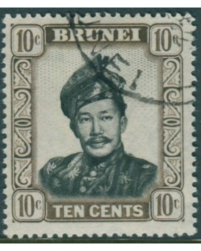 Brunei 1952 SG106 10c black and sepia Sultan FU