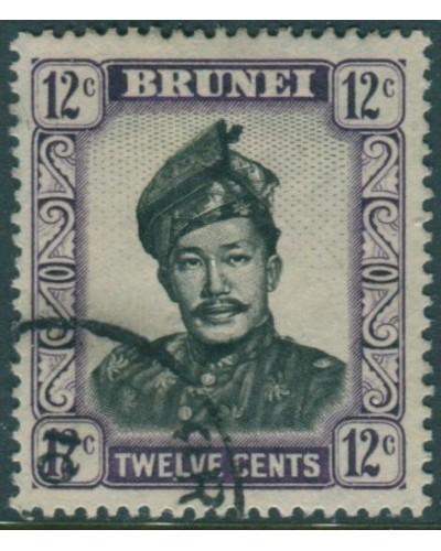Brunei 1952 SG107 12c black and violet Sultan FU
