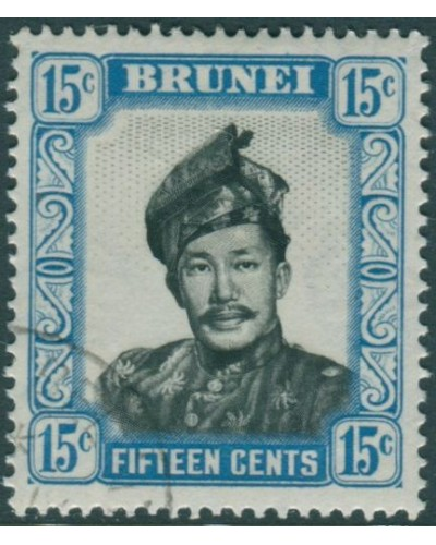 Brunei 1952 SG108 15c black and pale blue Sultan FU