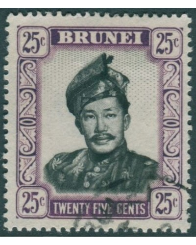 Brunei 1952 SG109 25c black and purple Sultan Sultan FU