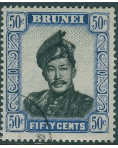 Brunei 1952 SG110 50c black and ultramarine Sultan FU