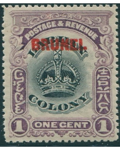 Brunei 1906 SG11 1c black and purple Crown with ovpt MLH