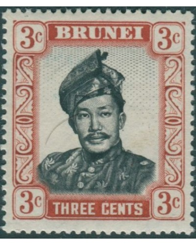 Brunei 1964 SG120 3c black and lake-brown Sultan MLH