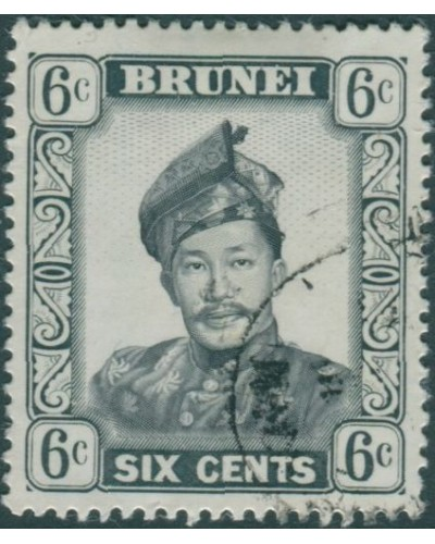 Brunei 1964 SG122 6c black and grey Sultan FU
