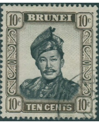 Brunei 1964 SG124 10c black and sepia Sultan FU