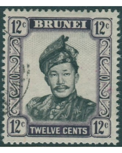 Brunei 1964 SG125 12c black and violet Sultan FU
