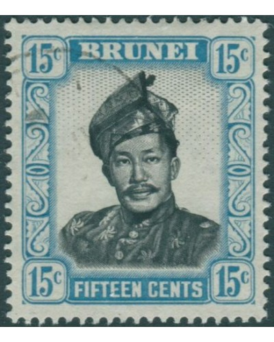 Brunei 1964 SG126 15c black and pale blue Sultan FU
