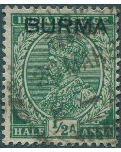 Burma 1937 SG2 ½a green KGV with BURMA ovpt FU