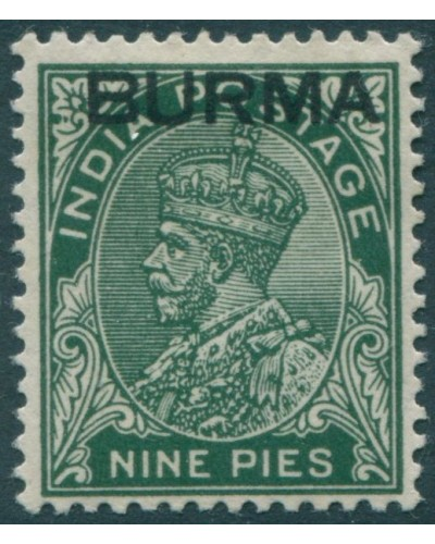 Burma 1937 SG3 9p green KGV with BURMA ovpt MH