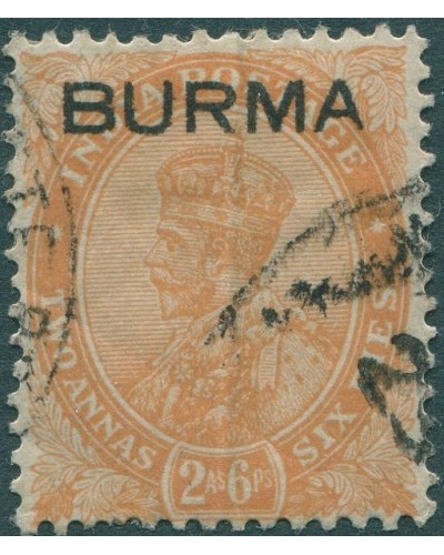 Burma 1937 SG6 2½a orange KGV with BURMA ovpt FU