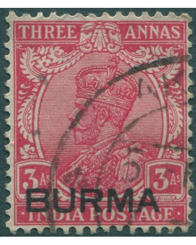 Burma 1937 SG7 3a red KGV with BURMA ovpt FU