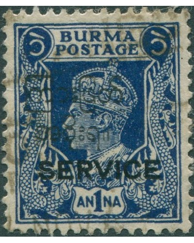 Burma official 1946 SGO31 1a blue KGVI with SERVICE ovpt FU