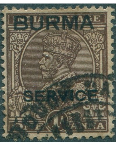 Burma official 1937 SGO4 1a brown KGV with BURMA SERVICE ovpt FU