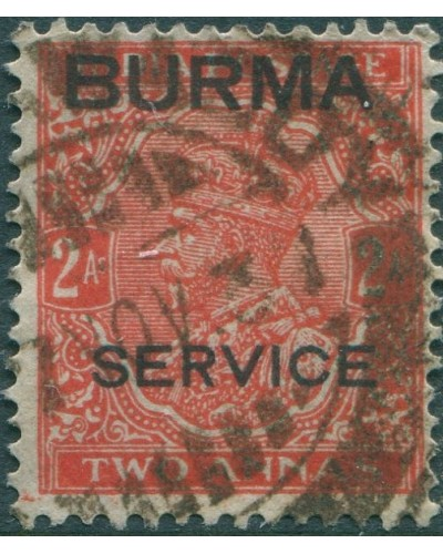 Burma official 1937 SGO5 2a red KGV with BURMA SERVICE ovpt FU