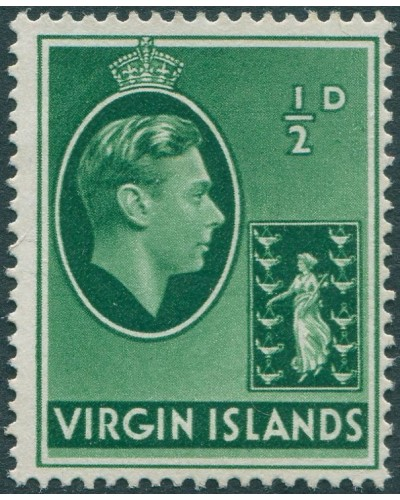 British Virgin Islands 1938 SG110a ½d Badge of the Colony KGVI MNG