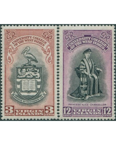 British Virgin Islands 1951 SG130-131 BWI University College set MLH