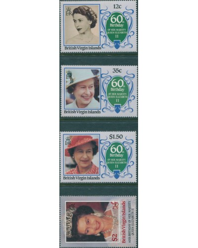 British Virgin Islands 1986 SG600-603 QEII 60th Birthday set MNH