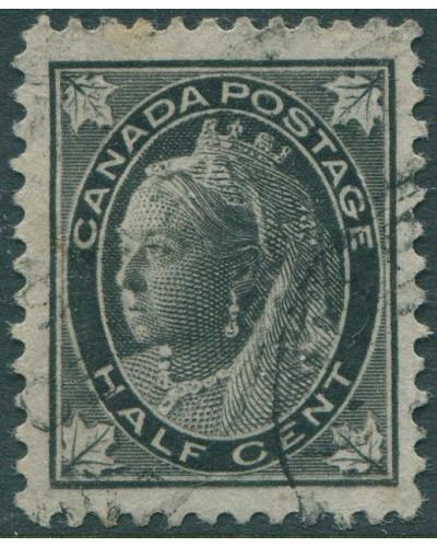 Canada 1897 SG141 ½c black QV maple-leaves FU