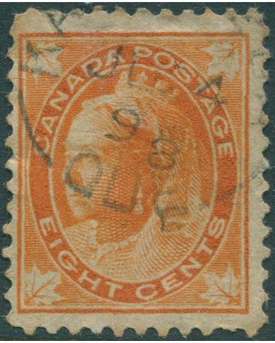 Canada 1897 SG148 8c orange QV maple-leaves FU