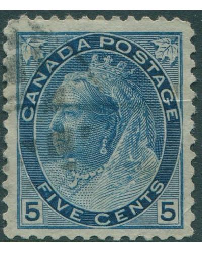 Canada 1898 SG157 5c blue QV figures FU