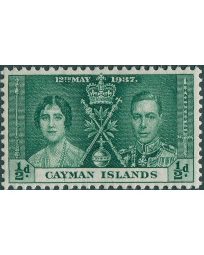 Cayman Islands 1937 SG112 ½d green Coronation MLH