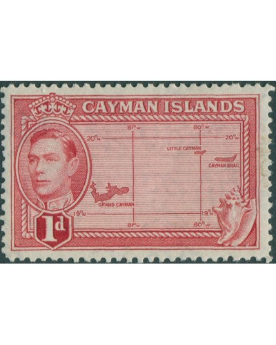 Cayman Islands 1938 SG117 1d red Map KGVI MLH