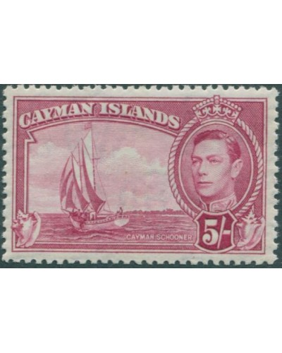 Cayman Islands 1938 SG125 5/- red KGVI schooner MNH