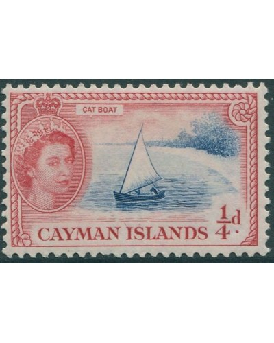 Cayman Islands 1953 SG148 ¼d blue and red Cat Boat QEII MLH