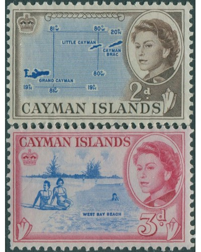 Cayman Islands 1962 SG168-170 Map and Beach QEII MNH