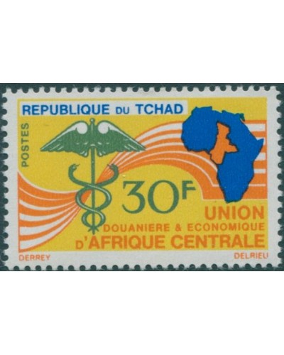 Chad 1966 SG156 30f Caduceus africa map MNH