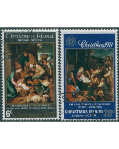 Christmas Island 1971 SG35-36 Christmas set set FU