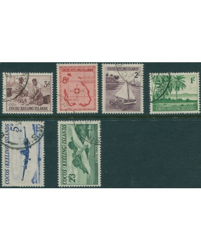Cocos Islands 1963 SG1-6 Copra Palms Lockheed Jukong Tern Map set FU