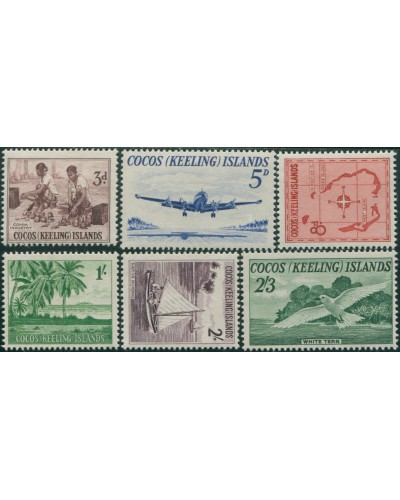 Cocos Islands 1963 SG1-6 Copra Palms Lockheed Jukong Tern Map set MNH